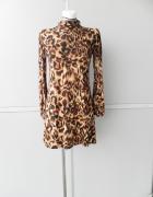 Sukienka w panterkę z półgolfem i drapowaniem długi rękaw M L
