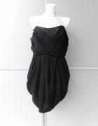 Anonymus piękna czarna sukienka szyfonowa atłasowa 48 50