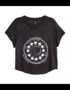 czarny krótki tshirt czarna krótka koszulka z nadrukiem w stylu grunge tumblr znaki zodiaku zodiak