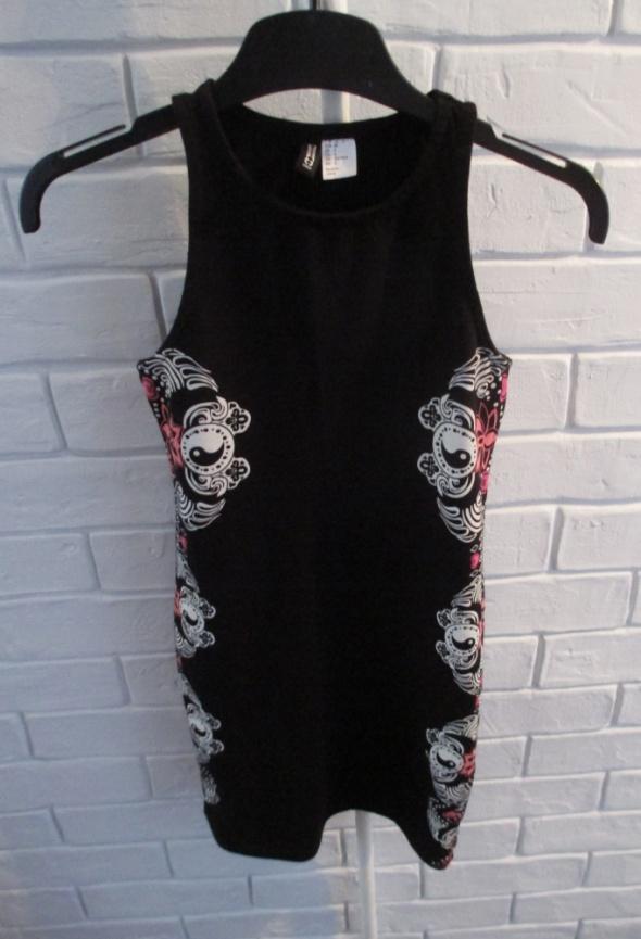 Sukienka H&M 34 mini czarna zdobienia orient