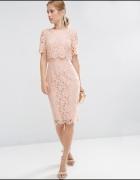 Asos koronkowa sukienka z crop topem
