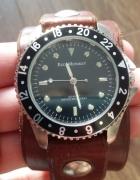 Brązowy zegarek Red Monkey skórzany...