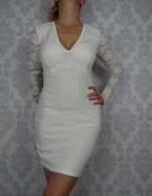 Biała ołówkowa dopasowana sukienka koronkowa Club L...