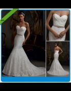 Piękna suknia ślubna syrena koronka S M L XL