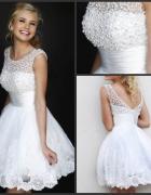 Ślubna sukienka krótka piękna cywilny poprawiny 34