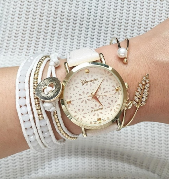 Zegarki Zegarek geneva koronka ażurowa kwiaty biały czarny