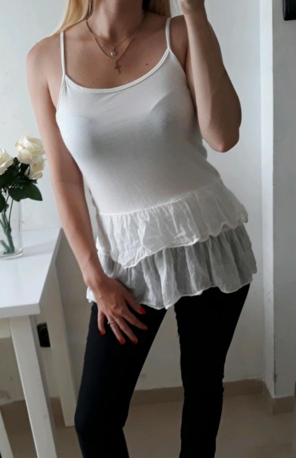 Bluzki Bluzka biała na ramiączkach falbanki M