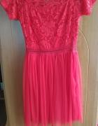 Czerwona sukienka tiul koronka...