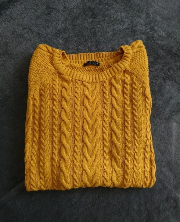 Swetry Stradivarius sweterek musztardowy żółty warkocz splot 38 M