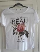 Atmosphere biały tshirt z różą 38 M