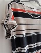 Wallis tshirt w paski wiązany w pasie S