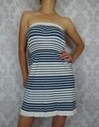 Krótka marynarska letnia sukienka w paski Ocean Club...