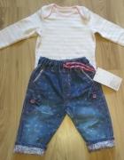 Body w paseczki z długim rękawem i spodnie jeansow