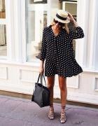 Koszulowa sukienka tunika w groszki Zara L