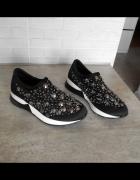 Mango nowe czarne buty sportowe wsuwane kryształki cekiny zdobi...