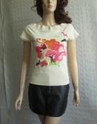 H&M beżowa bluzka nude naszywka wiosna 36