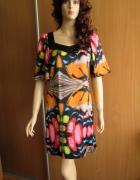 ZBIZ sukienka letnia kolorowy print połysk 36