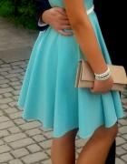 Turkusowa rozkloszowana sukienka