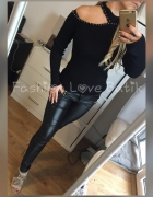 Piękna czarna bluzka odkryte ramie sweterek golfik