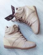 Beżowe sneakersy 38 skórka zamsz