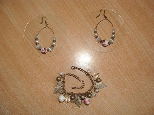 Zestaw biżuterii kolczyki bransoletka kwiatki