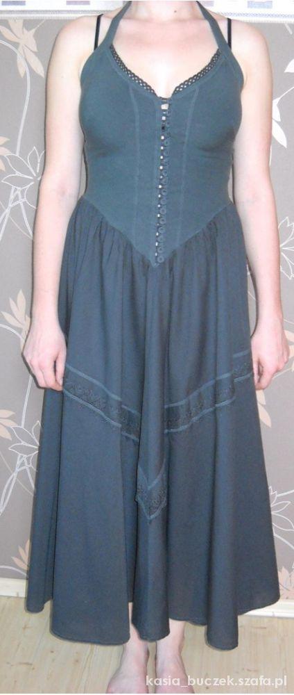 Szara letnia suknia