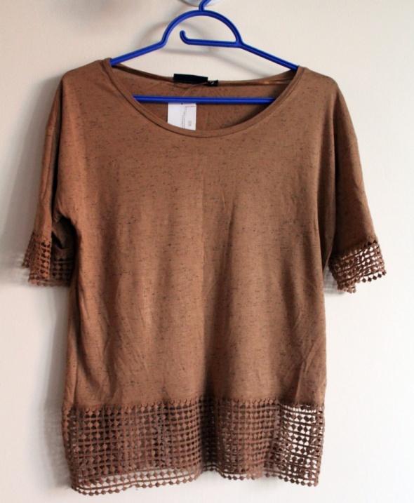 Nowa bluzka tshirt brown ażurowy dół