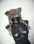 ciepła czapka uszy panterka