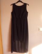 Asymetryczna czarna sukienka XXXL krótszy przód