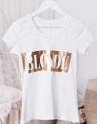 Biała bawełniana bluzka ze złotym napisem blonde