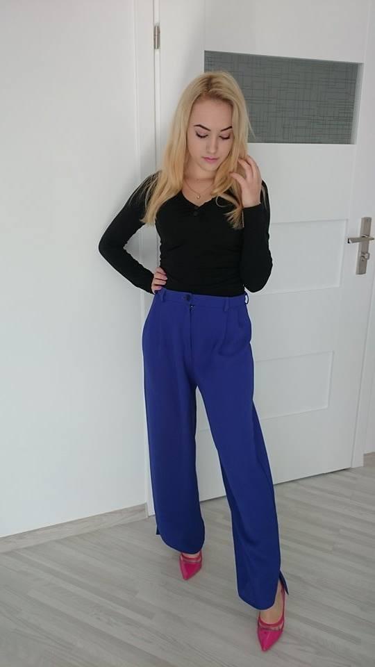 Spodnie Eleganckie wizytowe spodnie kobaltowe hit