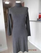 Tunika Sukienka Zara Szara Długa Golf Rozcięcia Nowa z Metką S