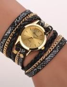 Zegarek damski długi pasek czarny złoty