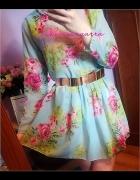 cudna nowa miętowa blogerska sukienka róże vintage