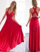Maxi sukienka czerwona 10 sposobów upiecia góry s m l