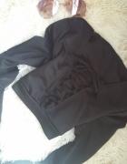 Czarny crop top bluza z długim rękawem wiązania