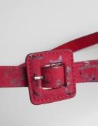 Carry pasek czerwony z klamrą retro
