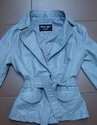Błękitna kurtka z ekoskórki S 36