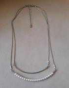Naszyjnik z dwoma łańcuszkami perełki