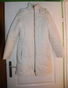 Biały płaszcz zimowy na polarku 36 kaptur
