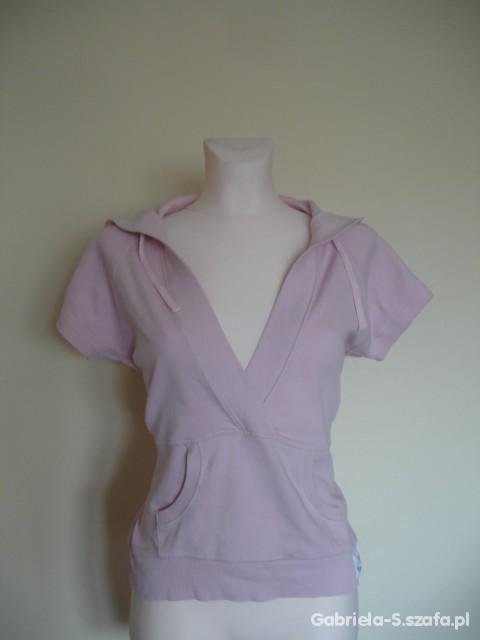Różowa bluza z krótkim rękawkiem i kapturem XL...