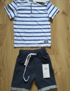 Bluzka w paski chłopięca i dresowe krótkie spodenki 98 104