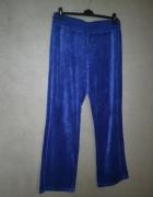 Spodnie dresowe welurowe niebieskie granatowe 42