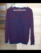 HM kardigan sweter paski granatowy bordowy