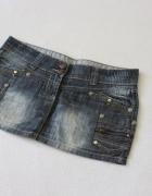 niebieska mini spódniczka jeansowa m...