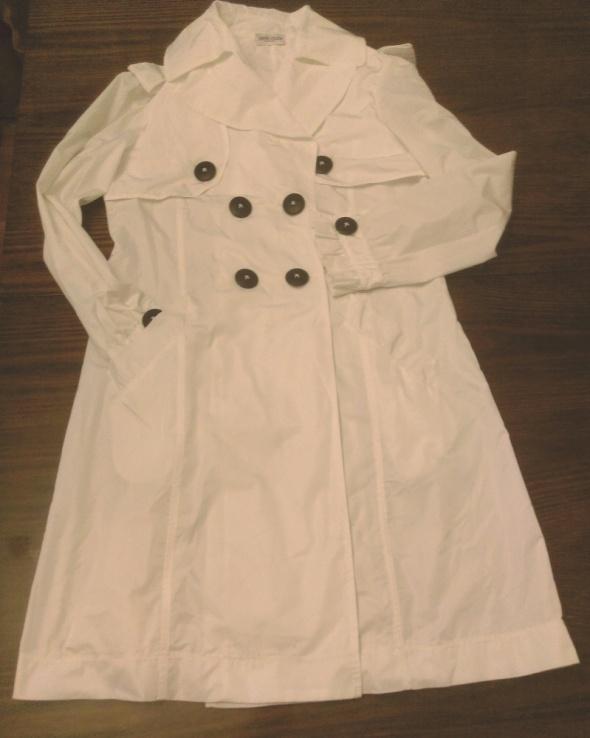 Deni Cler biały ślubny płaszcz trencz...
