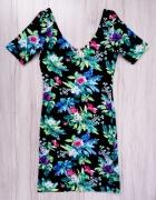 Nowa czarna ołówkowa elastyczna sukienka H&M kwiaty floral xs s...