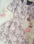 Kombinezon koronka szary różowy krótki XS xxs