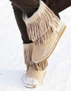 Buty z frędzlami emu Aukoala skóra śniegowce 39