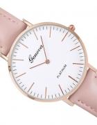 Zegarek Geneva Platinum skórzany pasek pudrowy róż
